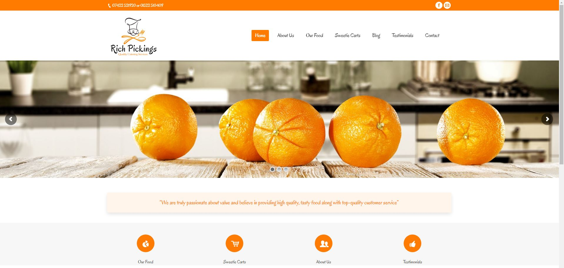 Web design lincoln catering website