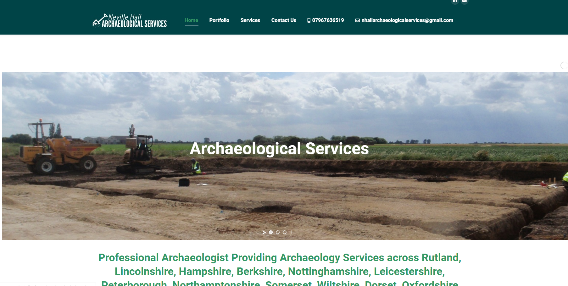 website Neville Hall Archaeological Services